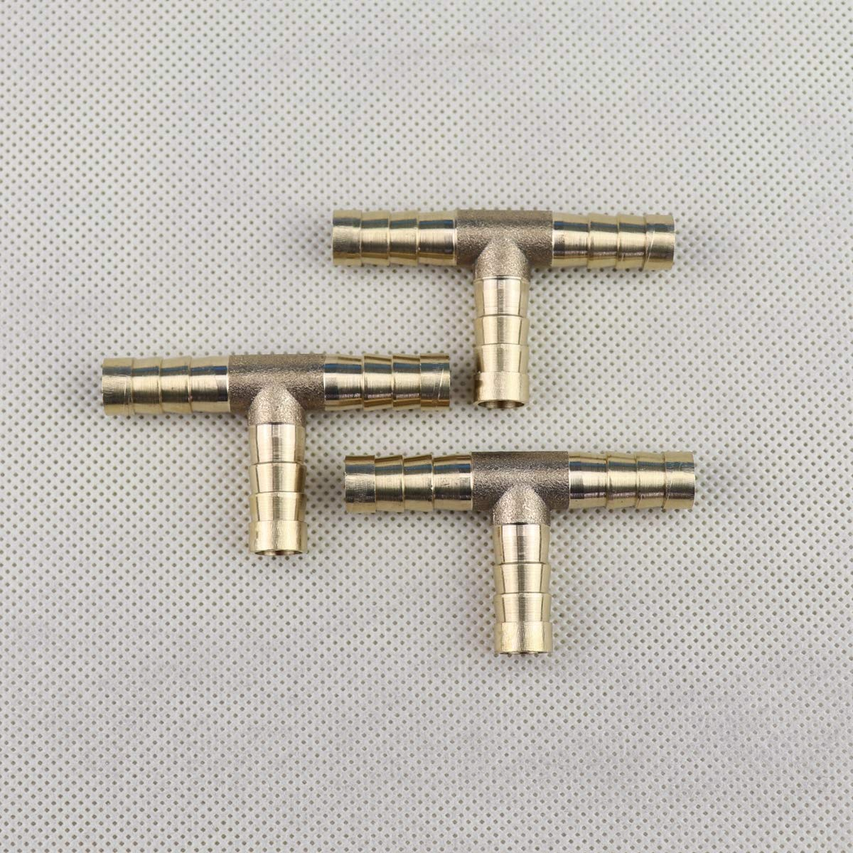 5//16 x 5//16 x 5//16, 1 Tee Union Mender Joiner Fuel Water Gas Air Brass Hose Barb Splice T-Fitting