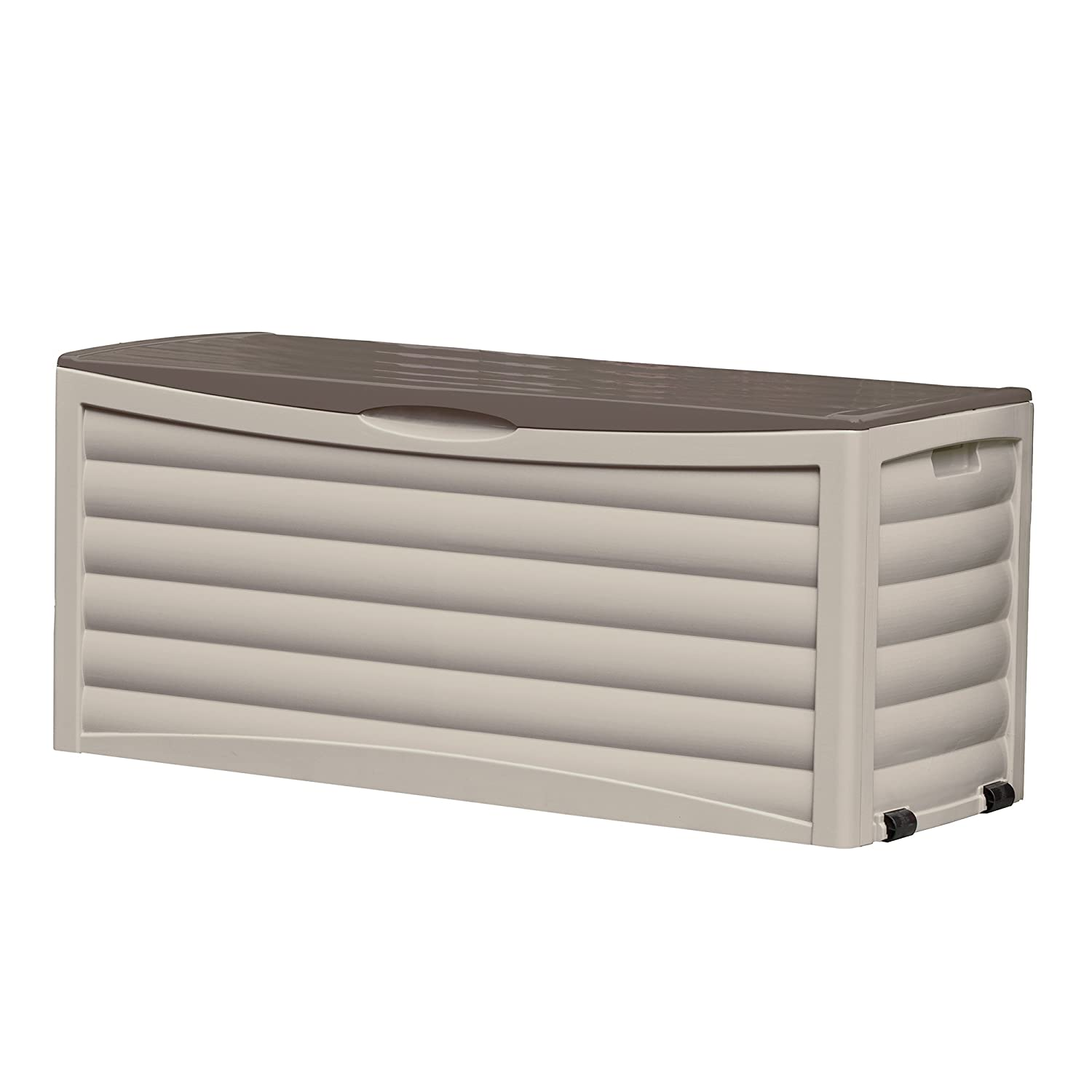 Suncast Resin 103 Gallon Large Patio Storage Box with Wheels - Outdoor Bin Stores Tools, Accessories and Toys - Store Items on Deck, Patio, Backyard - Taupe