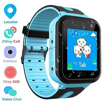 Smartwatch IP67 Impermeable para niños con GPS rastreadores Relojes Inteligentes al Agua Teléfono con AGPS/LBS SOS Cámara Juegos de Chat de Voz para ...