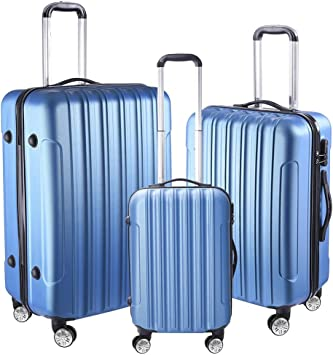 "HARD SHELL ABS 4 WHEEL LUGGAGE TROLLEY SET 20/""24/""28/"" LIGHTWEIGHT"