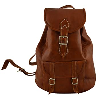 9f1475740f5c Moroccan Handmade Premier Leather Backpack Flap College Hiking Day Bag Brown