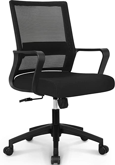 Amazon Com Neo Chair Office Chair Ergonomic Desk Chair Mesh Computer Chair Lumbar Support Modern Executive Adjustable Rolling Swivel Chair Comfortable Mid Black Task Home Office Chair Black Fabric Furniture Decor
