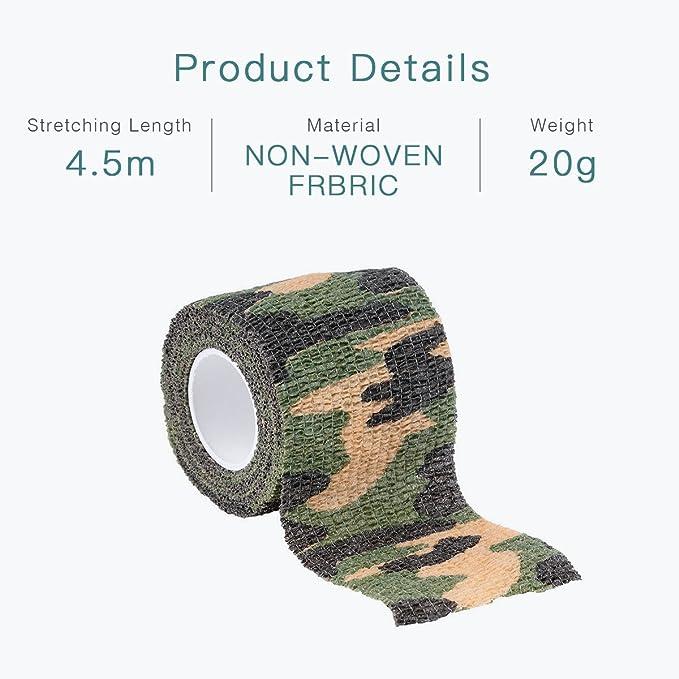 durable et r/éutilisable xt/érieur Camouflage ruban adh/ésif,Stealth Camo Bande//Camera stretch Bande//Woodland Fusil de chasse Camo Wrap NE Laisse Aucun r/ésidu//lors de linstallation