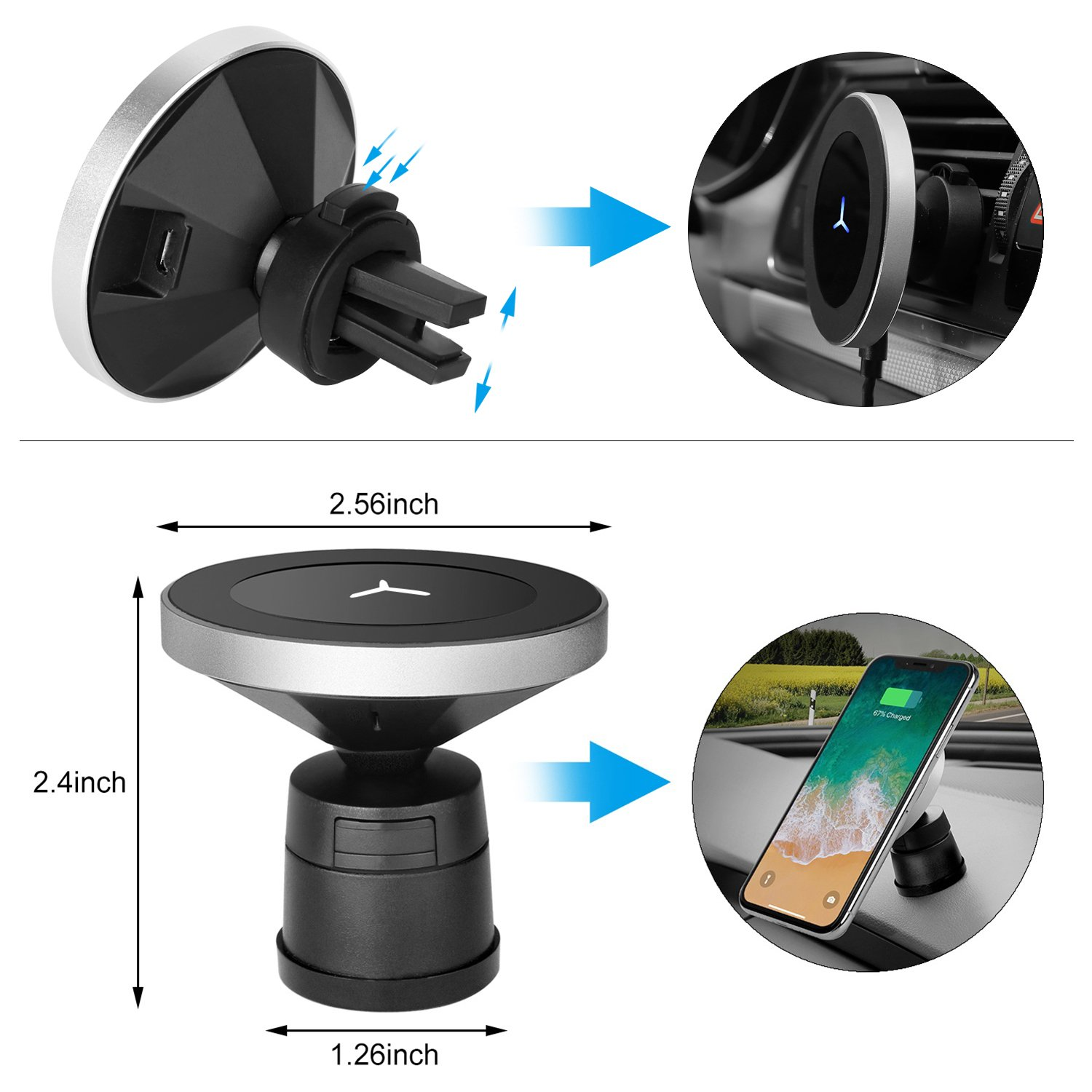 Qinoren Magnetic Wireless Car Charger Air Vent Phone Holder,Wireless Charging for Samsung S9/S9+/S8/S8+/S7/S7 Edge Note 8、Apple iPhone X/8/8 Plus and All QI-Enabled Devices(No Car Charger) by Qinoren (Image #4)