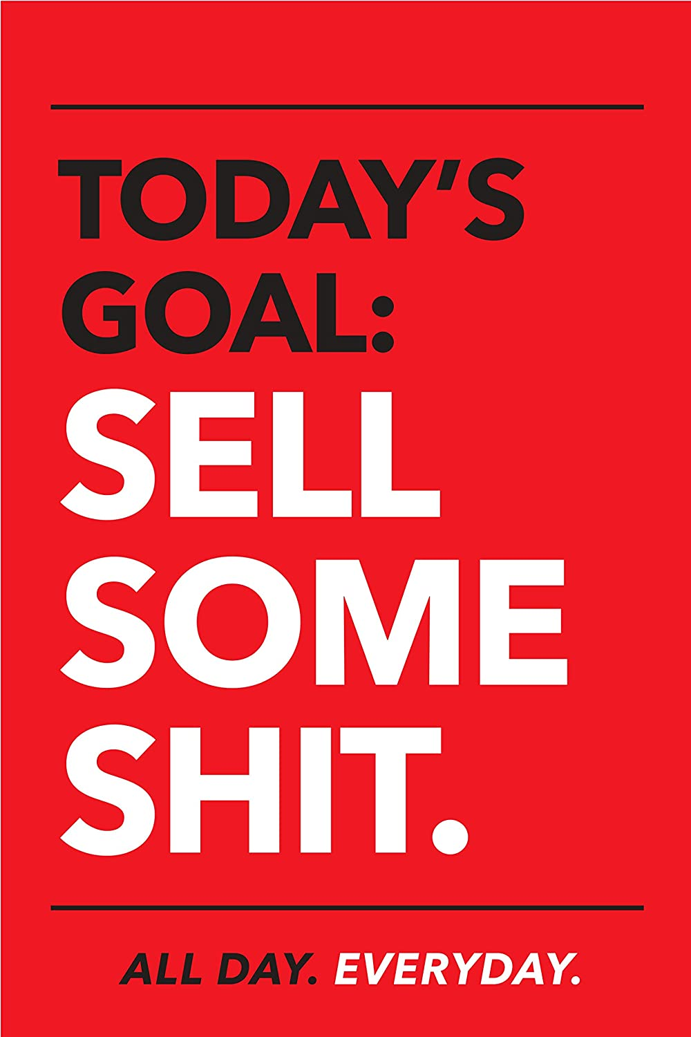 Motivational Posters for Office, Perfect Inspirational Wall Art for Sales Team. 11''x17'' Sign with Easel Backer Stand RED