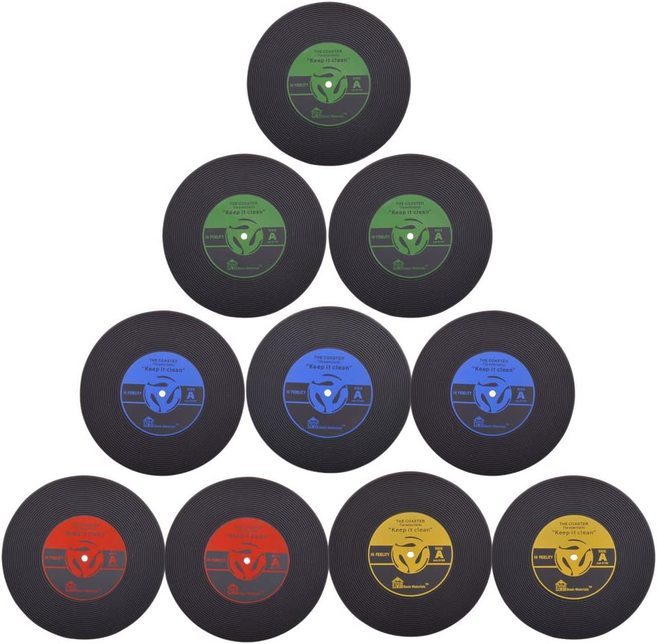 Coasters for Drinks, Set of 10 Vintage Vinyl Record Retro Mats, Soft Rubber Cup Mat Drinks Absorbent for Wine Glass Tea Coffee Table Mug Beer Bottle Beverages, Silicone Drink Coasters, Large 4 inch