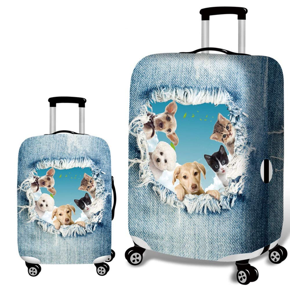 18-21 DHUYUN-Bag Luggage Cover Protector Jeans Animal Travel Luggage Cover Washable Suitcase Cover Fit 18-32 Inch Luggage Washable Baggage Covers Color : C, Size : S