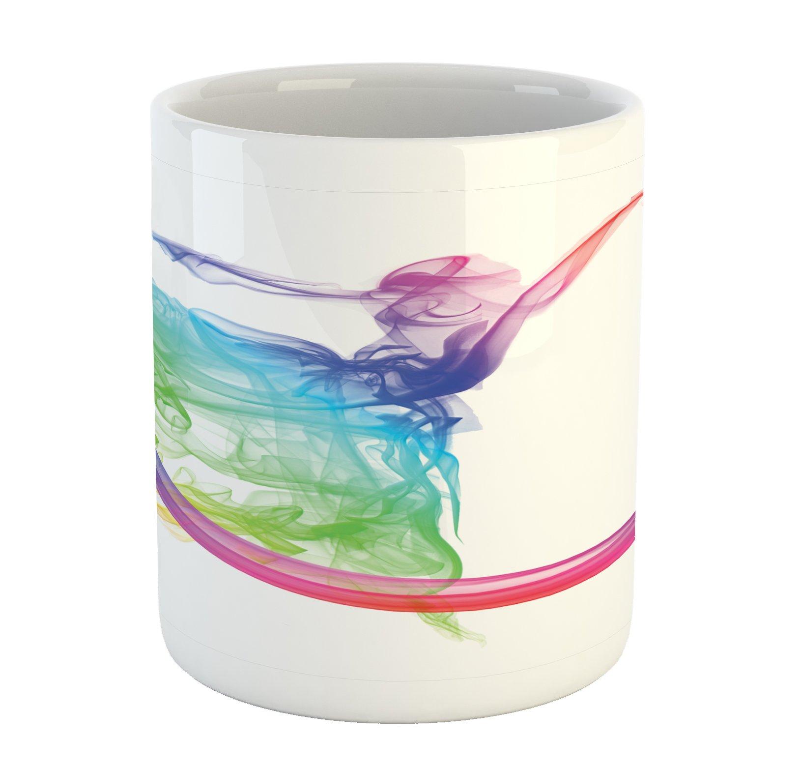 Lunarable Abstract Mug, Smoke Dance Shape Silhouette of Dancer Ballerina Rainbow Colors Fantasy Artistic, Printed Ceramic Coffee Mug Water Tea Drinks Cup, Multicolor