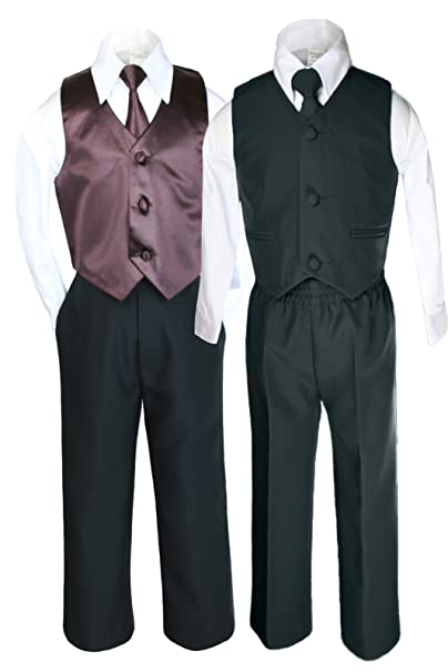Amazon.com: unotux 6pc Boys Negro Chaleco conjuntos trajes ...