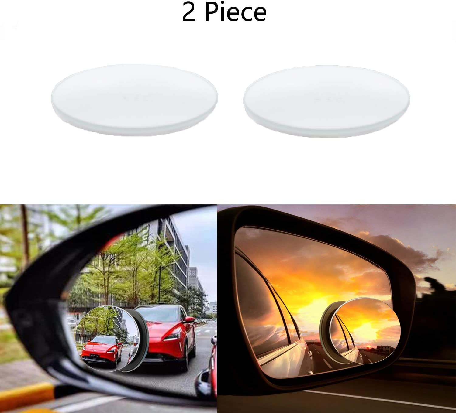 LiXiongBao 2 Pcs Self-Adhesive 360 Degree Adjustable Automotive Blind Spot Round Mirror Blind Spot Mirror Kit Aluminum Rear View Blind Spot Mirrors for All Cars Motorcycles Trucks Snowmobiles