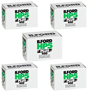 Ritz Camera Pack of 5 Ilford 1574577 HP5 Plus, Black and White Print Film, 35 mm, ISO 400, 36 Exposures