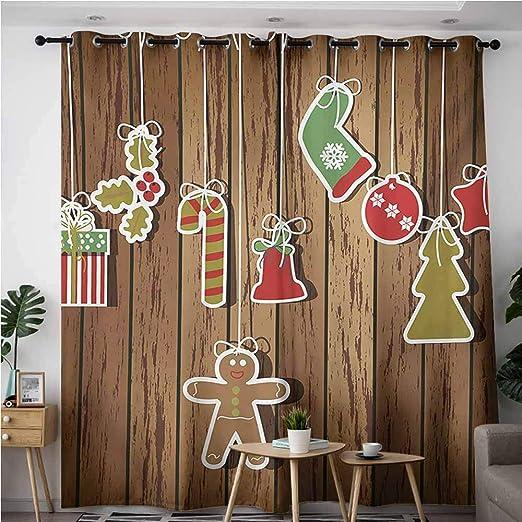 AndyTours Cortinas de Puerta corredera, diseño de árbol Grande con Adornos de Año Nuevo, Regalos y Velas, diseño de ángeles, eficiencia energética, oscurecimiento de Habitaciones, bermellón Verde: Amazon.es: Hogar
