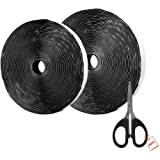 AIEX 39.37 Feet/12m hook and Loop Self Adhesive Tape Roll With Gift Scissors (Black)