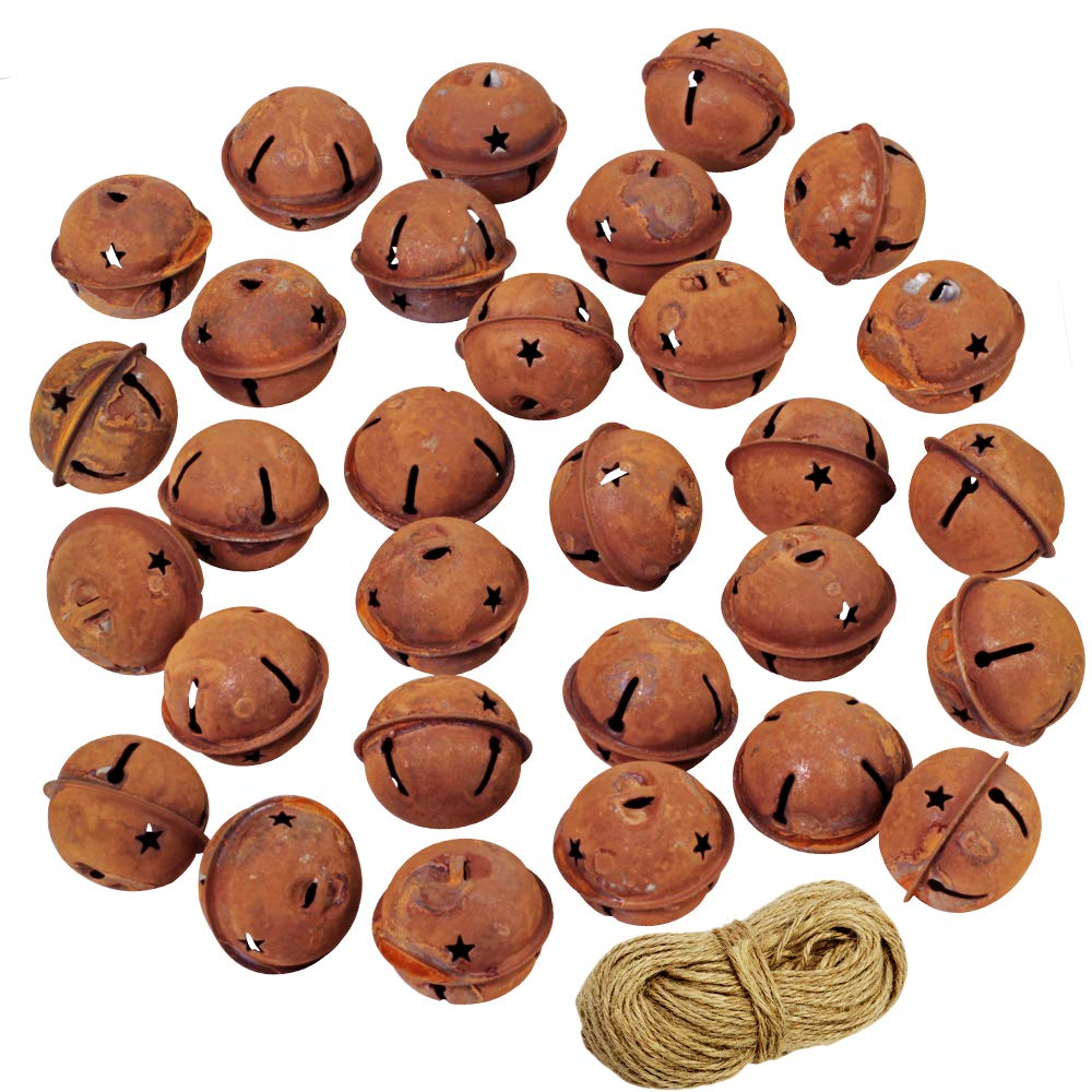 30 Pcs Rusty Jingle Bells with Star Shaped Cutouts Craft Bells Decorative Bells Bulk 1-1/2 and 33 Yard Jute String for Christmas Winter Holiday Season Decor Rustic Country Craft Supplies SuplaParty