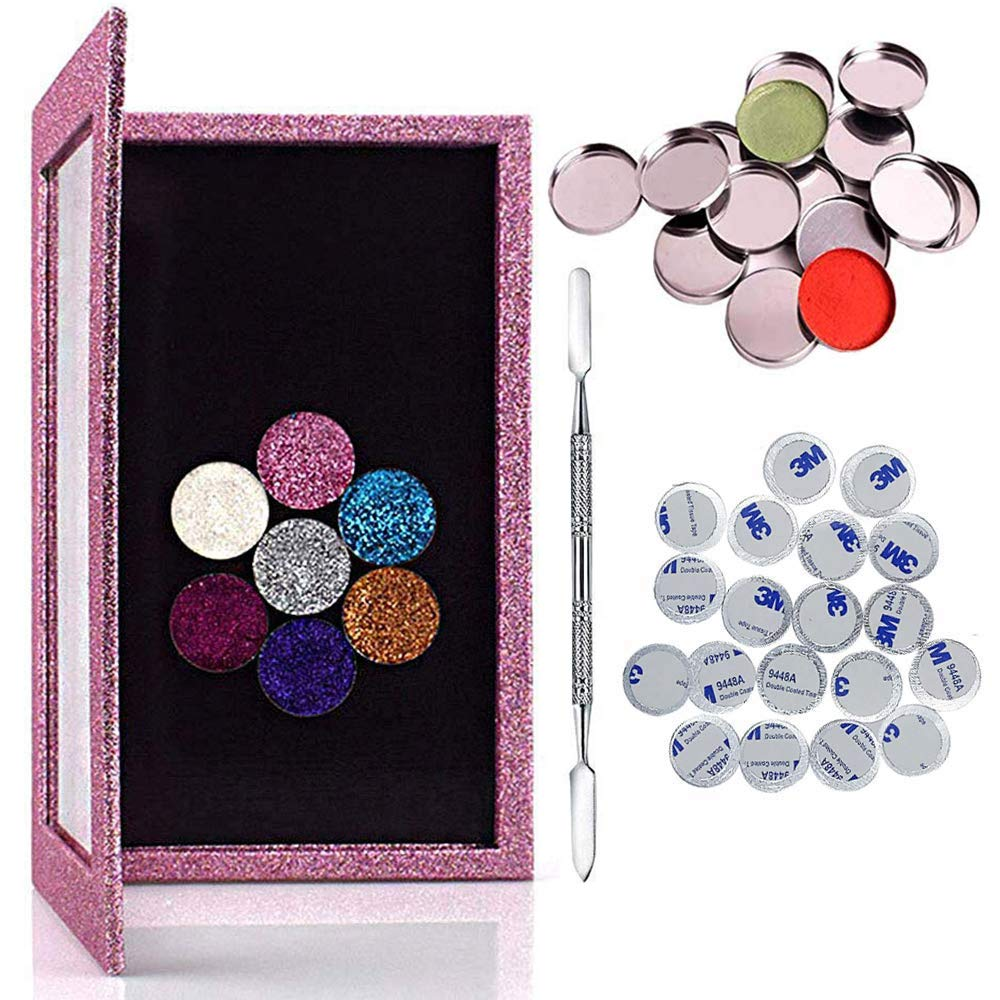 Kalolary 42PCS Professional Magnetic Palette Empty Makeup Palette Set with 1 Depotting Spatula 20 Adhesive Metal Stickers and 20 Empty Round Metal Tin Palette Pans for Eyeshadow Lipstick Blush Powder
