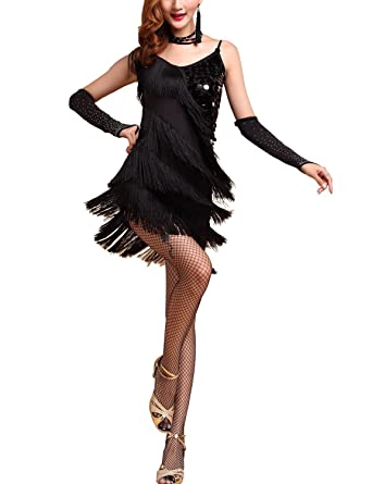 6ac72dd48a36 Amazing 1920 Dance Flapper Gangster Period Halloween Costumes dress with  Fringes