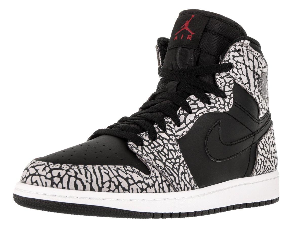 Jordan Nike Mens Air 1 Retro High Elephant Print Black Gym Red-Cement Grey Leather Size 11