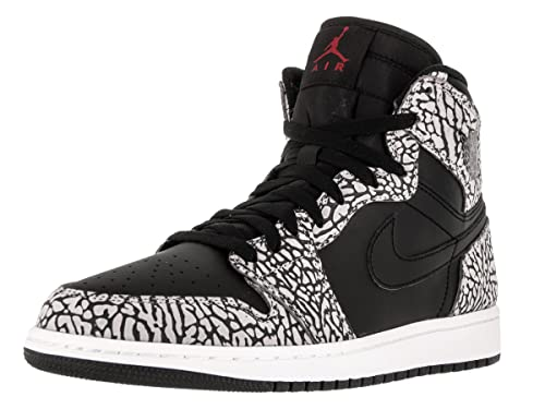 e35079b6694 Nike Men s s Air Jordan 1 Retro High Basketball Shoes Black Gym Red-Cement  Grey