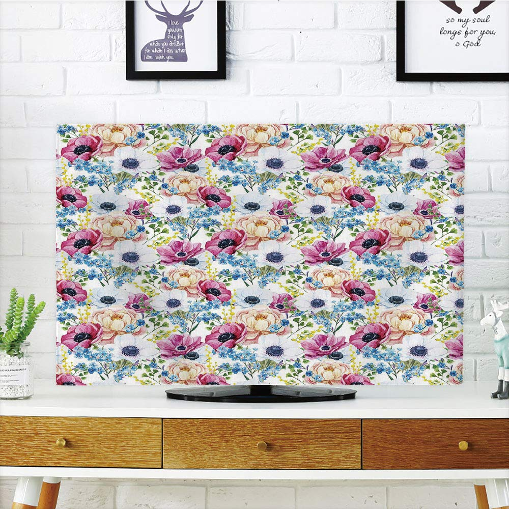 iPrint LCD TV Cover Multi Style,Watercolor,Vintage Colorful Anemone and compatibleget Me Not Flowers Romantic Mimosa Peony Art Decorative,Multicolor,Customizable Design Compatible 55'' TV