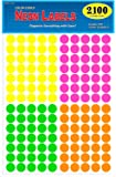 """Pack of 2100 3/4"""" Round Color Coding Circle Dot Labels, Bright Neon Multicolored: Yellow, Pink, Green, Orange, 8 1/2"""" x 11"""" Sheet, Fits Any Printer…"""