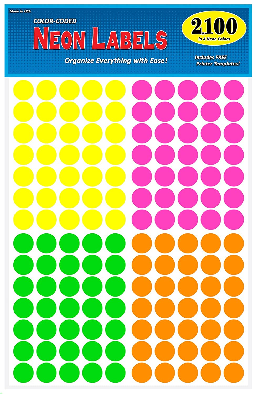 Amazon Pack Of 2100 3 4 Round Color Coding Circle Dot Labels Bright Neon Multicolored Yellow Pink Green Orange 8 1 2 X 11 Sheet