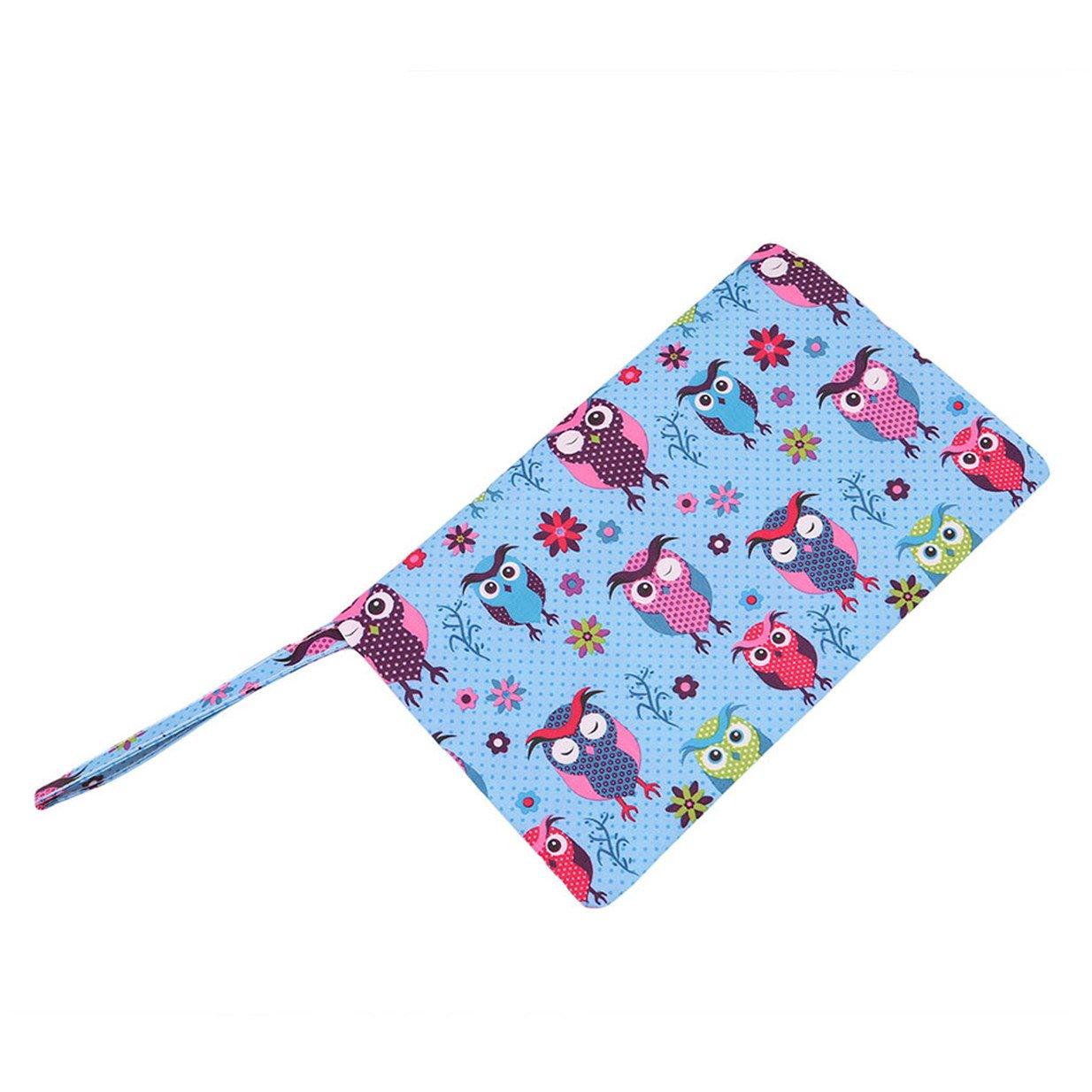 Lalang Wiederverwendbar Windel Beutel Baby Tuch Wasserdicht Wickeltasche hängen Spaziergänger , Vielzweck Kosmetischer Geldbeutel Handtasche (Blue Eule) 88_Store