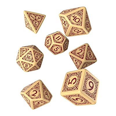 Q-Workshop Viking Beige & Burgundy Dice Set (7): Toys & Games