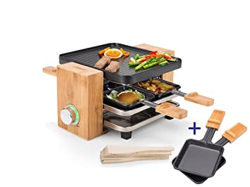 Edler Raclette Party Grill con bambú marco para 4 personas, 700 W ...