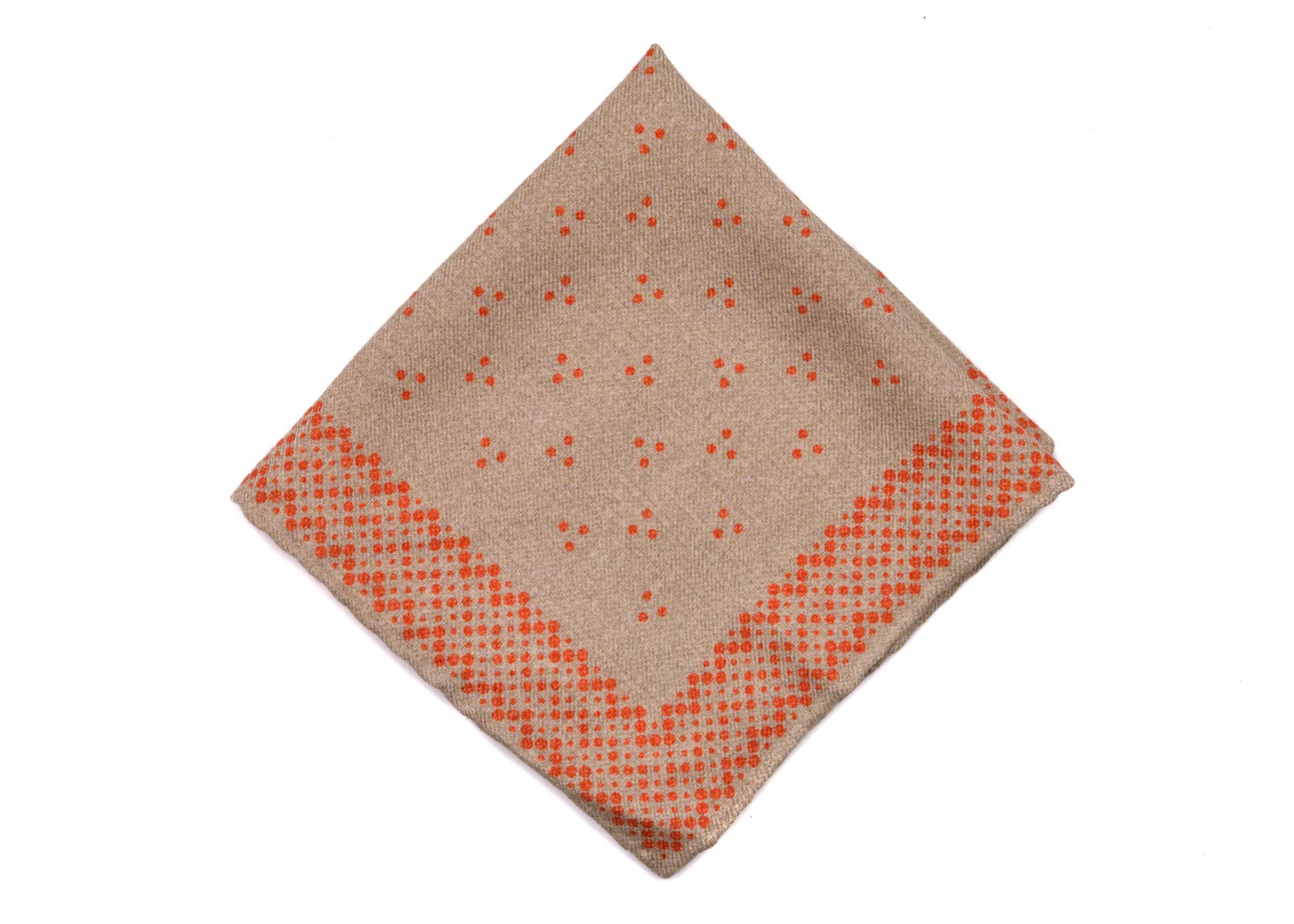 Brunello Cucinelli Mens Brown Dot Wool Blend Pocket Square One Size~Retail$225