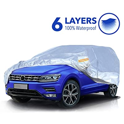 TWING Car Cover Universal Full Car Covers with Zipper Door 6 Layers All Weather Protection Waterproof Windproof Snowproof Dustproof Scratch Resistant UV Protection Car Reflective Strips SUV: Automotive