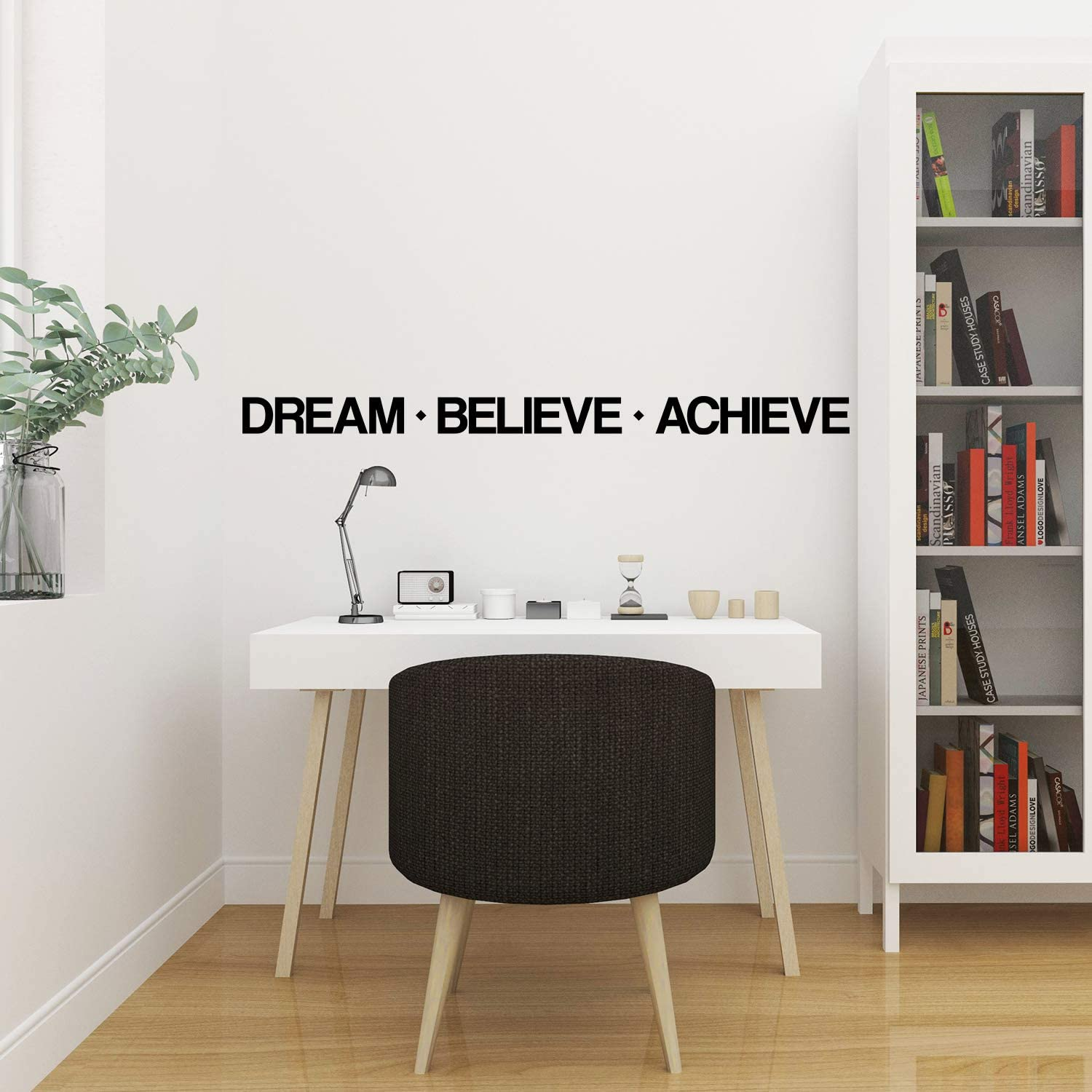 My Vinyl Story Dream Believe Achieve Wall Sticker Inspirational Wall Decal Motivational Office Decor Quote Inspired Gym Motivated Wall Art Vinyl Wall Decal School Classroom Words and Saying 108x7 in