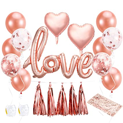 pllieay 21 pieces rose gold balloons bridal shower balloons including rose gold balloons table runner