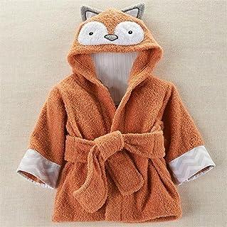 Towelling Bath Robe Children Kid Boy Girl Cotton Fox Shape Hooded Cartoon Bathrobe Blanket Beach Bath Towel Wrap Nightwear (Color : Coffee, Size : S) Huasen