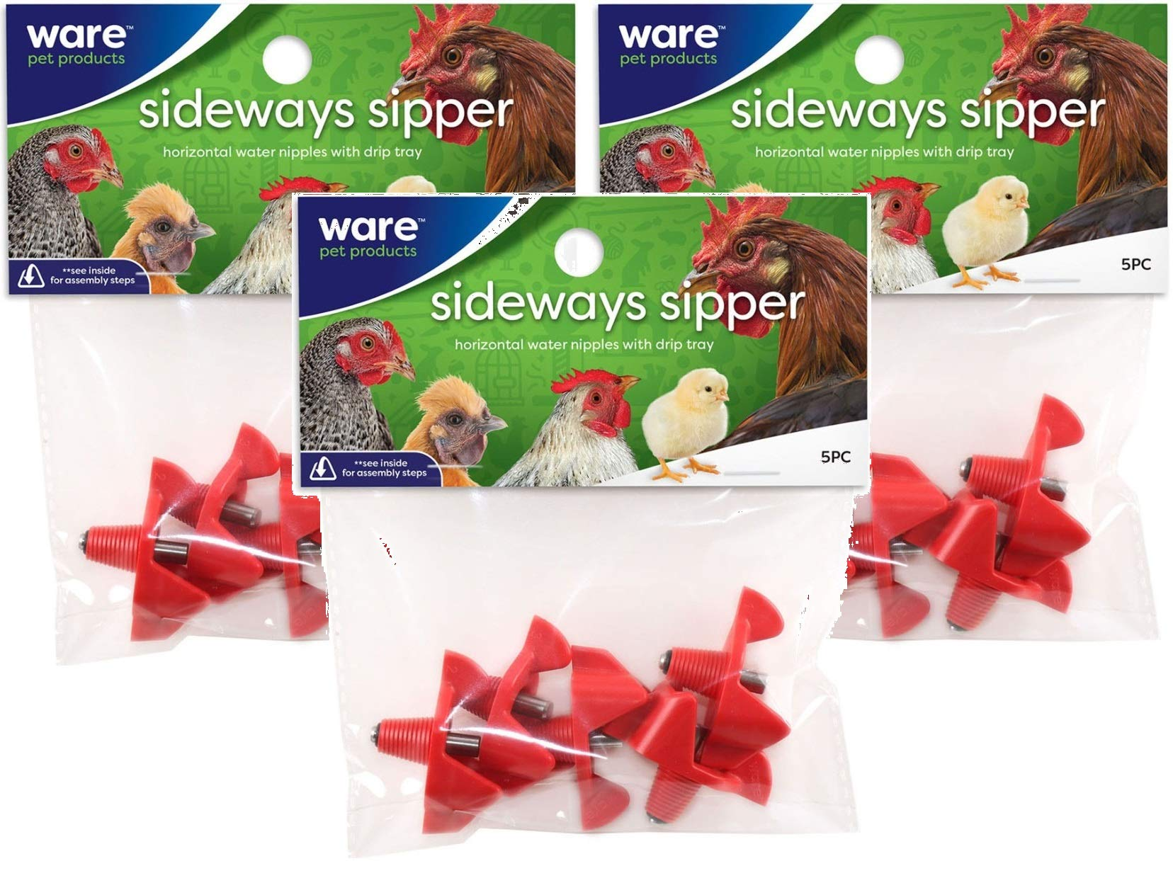 Ware 3 Pack of Sideways Sipper Horizontal Water Nipples, 5 Per Pack by Ware Manufacturing