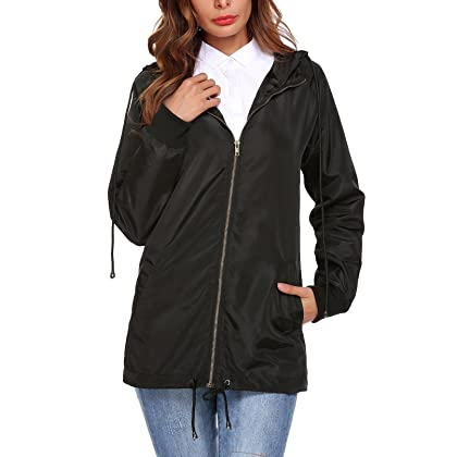 6dc69e596 Mofavor Women's Lightweight Long Windbreaker Jacket Active Outdoor Hooded  Coat