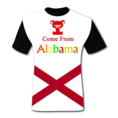 1e8aeb88fd32 Amazon.com: Crew Neck New Cute T-Shirts 3D Create My Own with Alabama Flag  for Men: Clothing