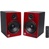 """Rockville HTS8C Pair 8"""" 1000W Powered Home Theater Speakers Bluetooth/FM/USB/SD"""