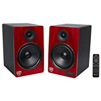 "Rockville HTS8C Pair 8"" 1000W Powered Home Theater Speakers Bluetooth/FM/USB/SD"