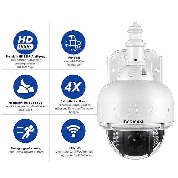 Telecamera di sicurezza Wireless esterna Dericam, telecamera WiFi PTZ, Zoom Ottico 4X, messa a Fuoco automatica, 1,3 megapixel, scheda di Memoria 32 GB ...