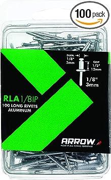 100-Pack Arrow Fastener RMA1//8IP Medium Aluminum 1//8-Inch Rivets