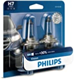 Philips H7 Vision Upgrade Headlight Bulb with up to 30% More Vision, 2 Pack