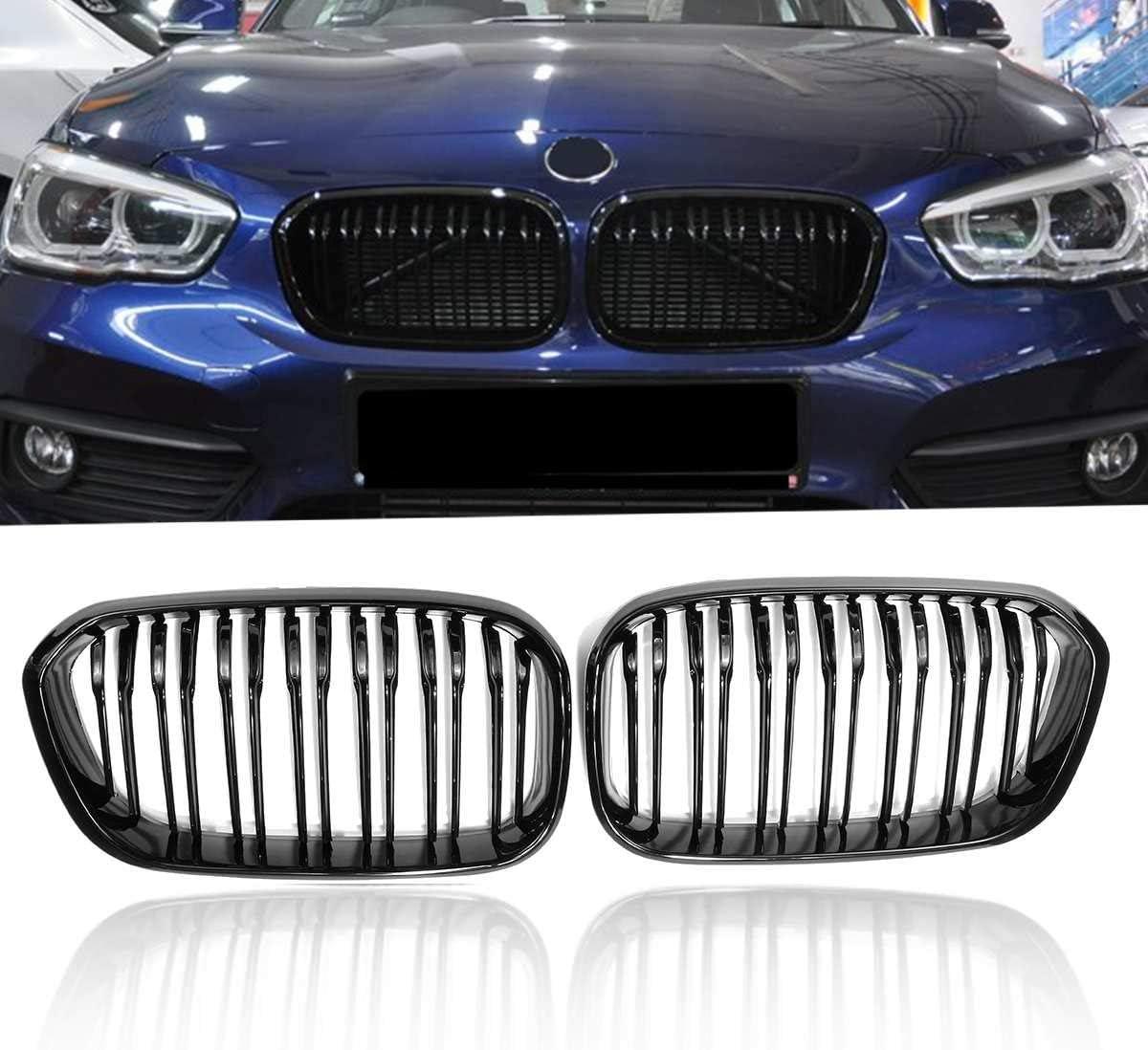 JNXZHQC Grille de calandre de Rein de Voiture./pour BMW F20 F21 120i 118i 118d 116i M135i 1 s/érie 2015 2016 2017 Style de Pare-Chocs Avant///Brillant Noir Mat