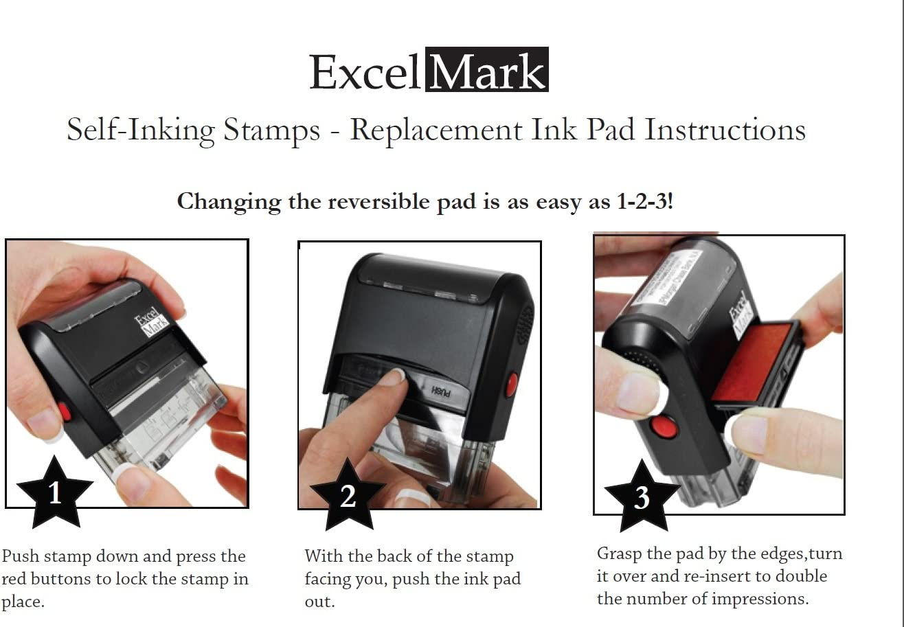 ExcelMark A1539 Self Inking Replacement Ink Pads Blue