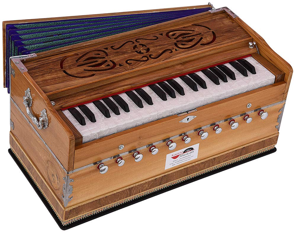 Harmonium Teak Wood By Kaayna Musicals, 11 Stops- 6 Main & 5 Drone, 3½ Octaves, Coupler, Natural Wood Color, Gig Bag, Bass/Male Reed- 440 Hz, Best for Yoga, Bhajan, Kirtan, Shruti, Mantra, etc