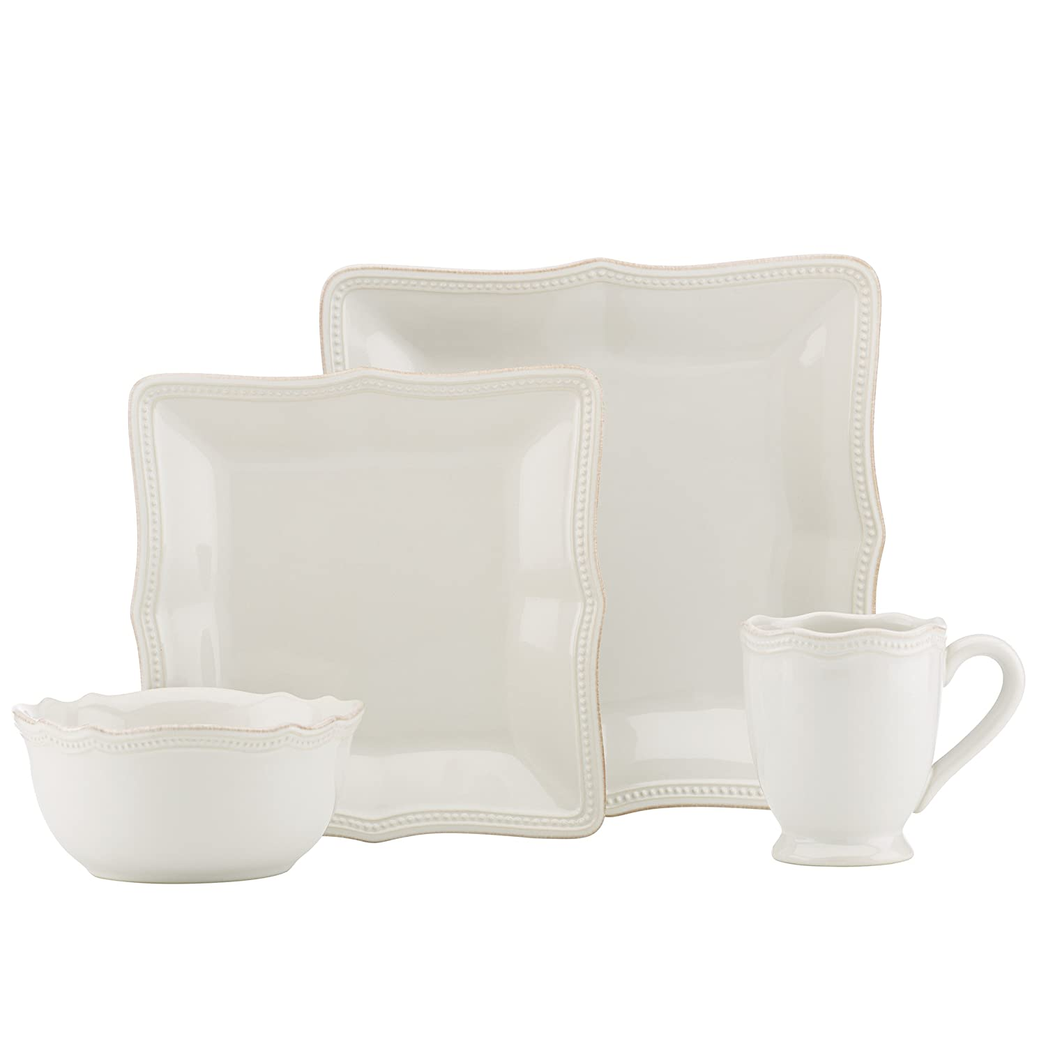 Christmas Tablescape Décor - Lenox White French Perle bead square china 4-pc place setting