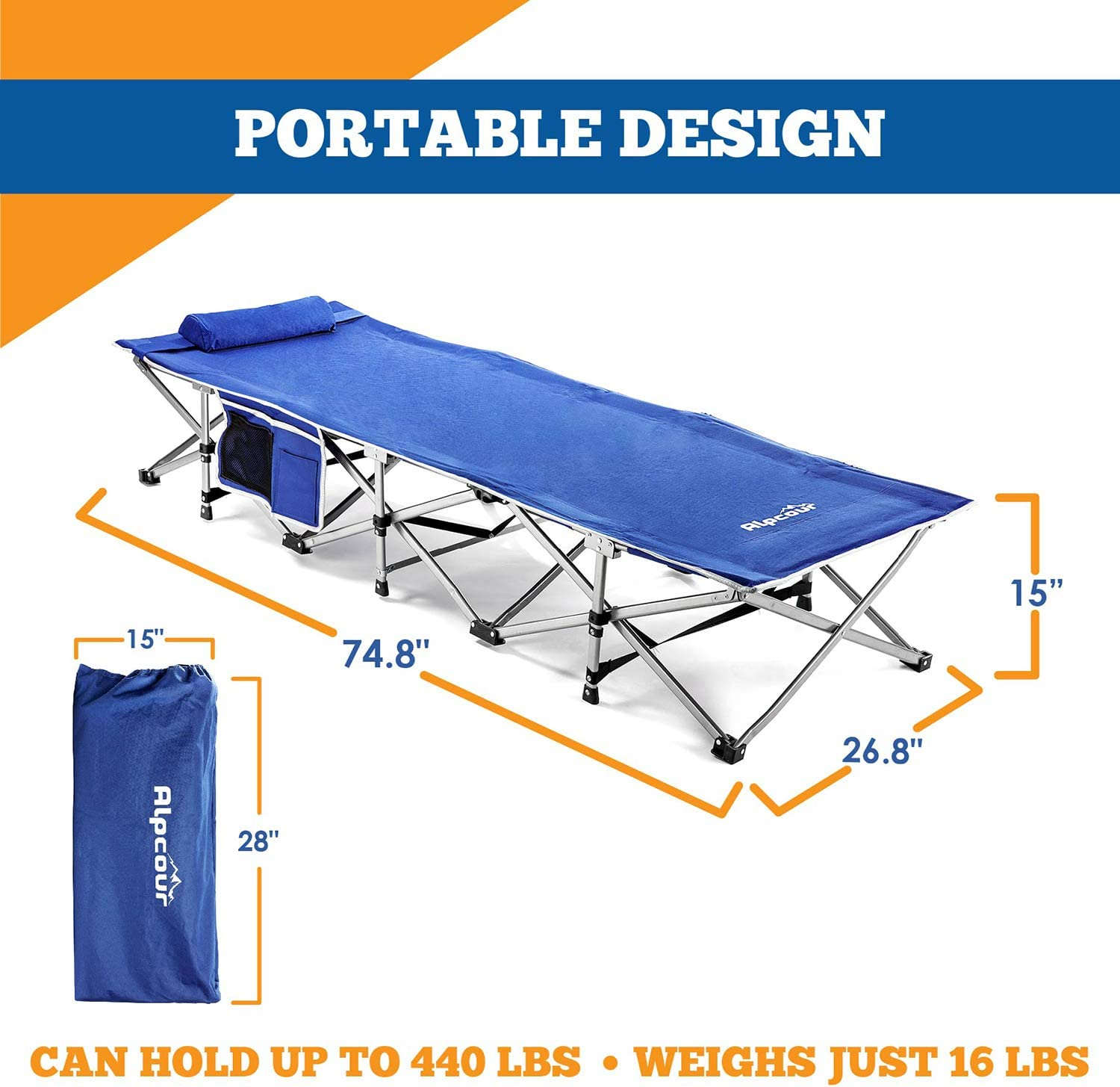 Extra Strong Single Person Small-Collapsing Bed in a Bag w//Pillow for Indoor /& Outdoor Use Alpcour Folding Camping Cot Deluxe Comfortable Extra Heavy Duty Design Holds Adults /& Kids Up to 440 Lbs