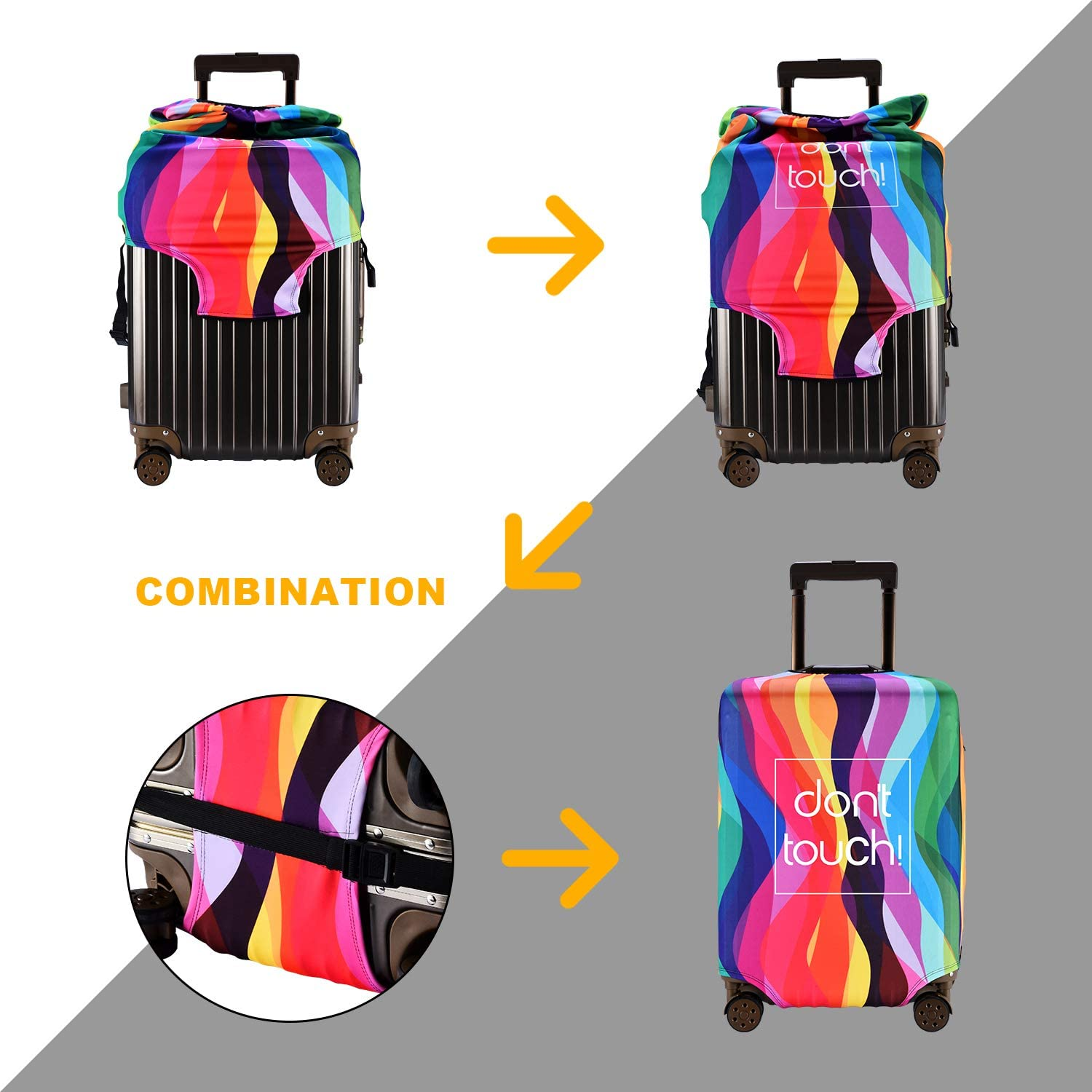 ZHONGJI Luggage Cover Thickened Washable Summer Green Watercolor Polyester Fibe Elastic Foldable Lightweight Travel Suitcase Protector Fits 18-32 Inch