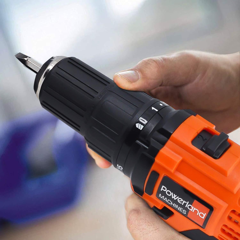Powerland D013 Li Taladro percutor sin cable brushless con baterías (sin escobillas, batería de litio, 2.0 Ah, 18 V, 2 velocidades, luz LED, Power-X-Change) (red)
