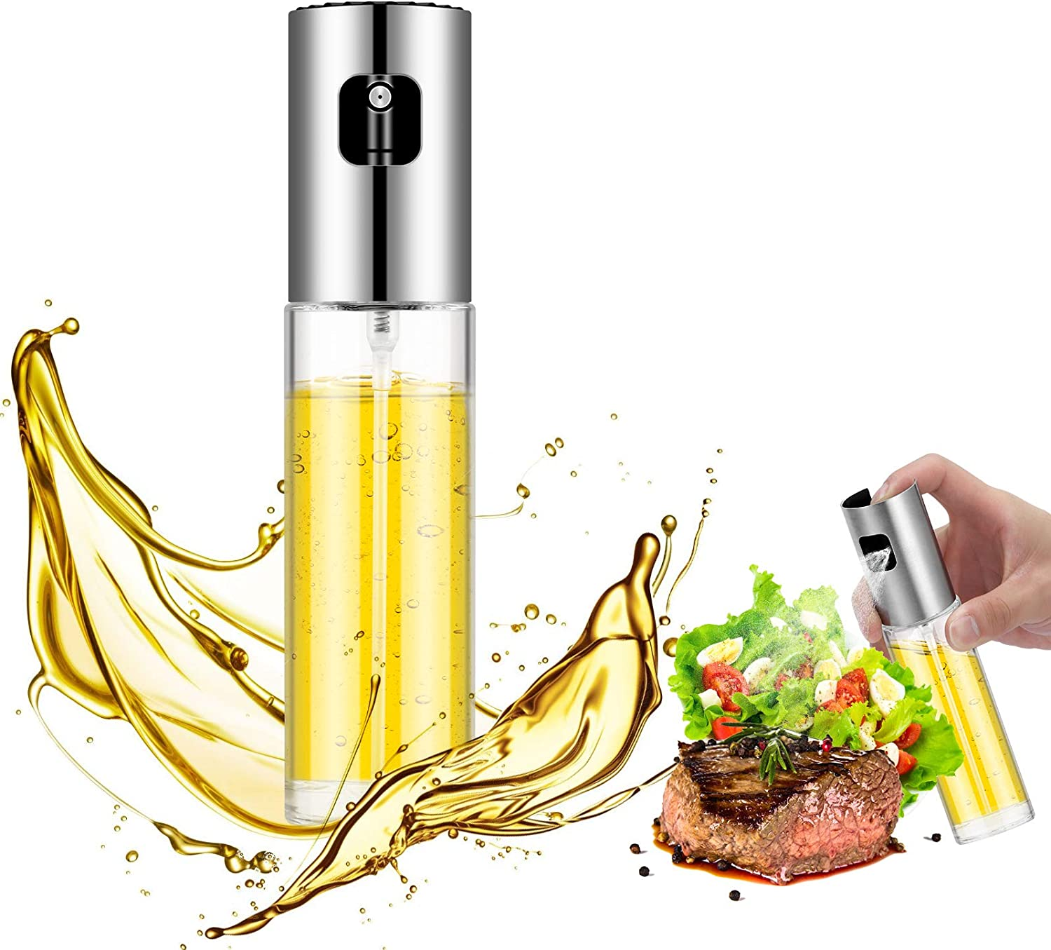 Oil Sprayer for Cooking, Oil Spray Bottle, Oil Dispenser Stainless Steel and Food Grade Glass, Olive Oil Spray for Roasting, Salad, Outdoor Barbecue, Baking