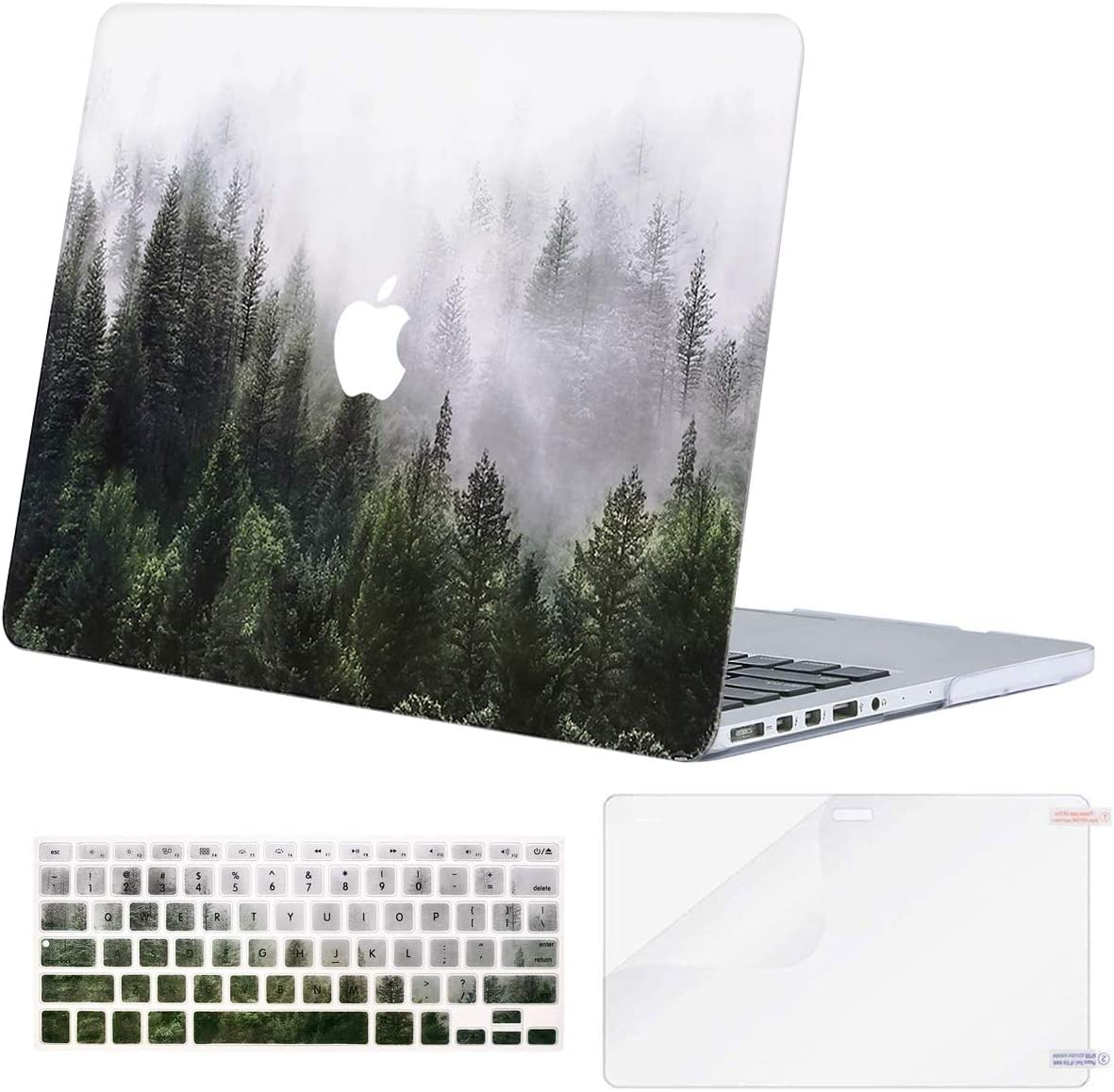 MOSISO MacBook Pro 13 inch Case 2015 2014 2013 end 2012 A1502 A1425, Plastic Pattern Hard Shell Case & Keyboard Cover & Screen Protector Compatible with MacBook Pro Retina 13 inch, Green Forest
